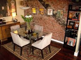furniture brick wall decoration ideas toronto rustic round dining room with accent turquoise stunning outside