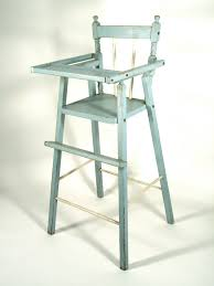 item vintage distressed wood doll high chair in blue would be great for american girl
