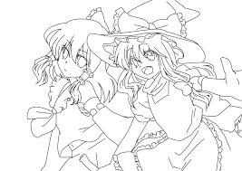 Reimu Hakurei and Marisa Kirisame Coloring Page by ...