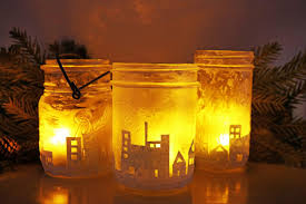 how to make city skyline silhouette candle holders from mason jars
