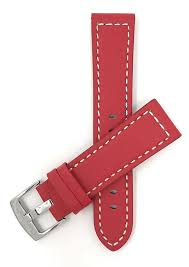bobby red leather racer watch strap band white stitching 20mm 26mm tictoc