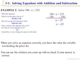 william james calhoun solving equations with addition and