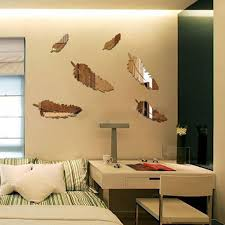 8pcs removable diy silver feather 3d mirror wall art stickers decal home kids bedroom bathroom mural on 3d mirror wall art stickers with 8pcs removable diy silver feather 3d mirror wall art stickers decal