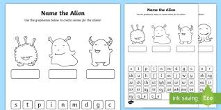Printable worksheets for teaching students to read and write basic words that begin with the letters br, cr, dr, fr. Phonics Screening Phase 2 3 And 5 Name The Alien Worksheet Activity Sheets