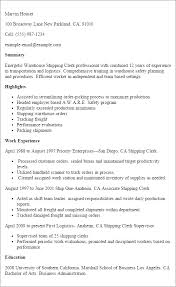 Professional Warehouse Shipping Clerk Resume Example Templates To