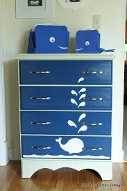 use krylon spray paint to create this fun whale painted dresser in just a few minutes