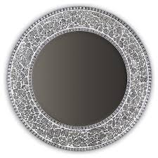 decorative round framedwall mirror glass mosaic 24 silver