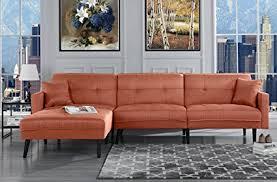 mid century modern furniture living room. Mid Century Modern Style Linen Sofa Sleeper Futon Sofa, Living Room L Shape  Sectional Couch Mid Century Modern Furniture Living Room