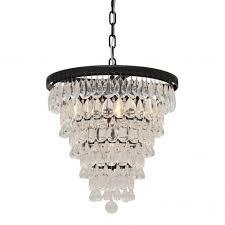 the weston 7 light round glass drop chandelier pendant black finish