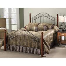 wood and iron bedroom furniture. Martino Wood \u0026 Iron Bed In Smoked Silver Cherry And Bedroom Furniture T