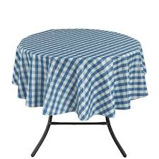 ottomanson tab1055 round vinyl tablecloth checd design indoor outdoor tablecloth non woven backing 55 round blue ottomanson