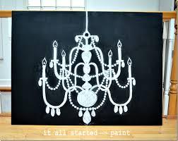 chalk art chandelier drawn by hand on canvas