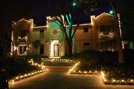 outdoor xmas lighting. Outdoor Christmas Lighting Decoration In Front Of The House And Around Landscape Xmas