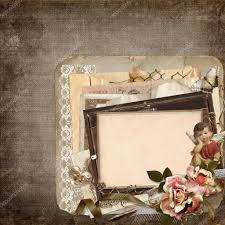 vintage background with old frames angels roses and old retro decorations stock photo