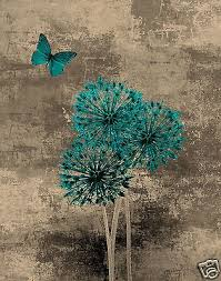 teal brown blue butterfly floral wall art home interior decor matted picture ebay on blue brown wall art with teal brown blue butterfly floral wall art home interior decor matted