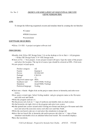 Vlsi Design Lab Manual For Ece Vlsi Lab Manual Exp 2