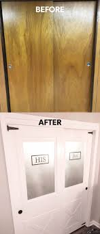 hollow core door makeover with frosted glass sliding closet farmhouse doors with gate hinges and