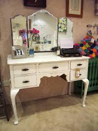 small dark brown polished oak wood vanity table