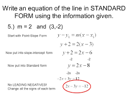 write an equation of the line in standard form using the information given