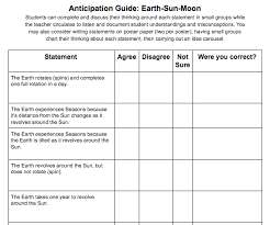 Earth Sun Moon System Anticipation Guide New Visions Science