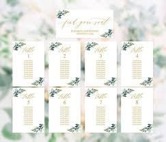 Wedding Reception Seating Chart Wedding Reception Seating Chart Template Printable Greenery Gold Seating Chart By Table Seating Chart Template Hanging Seating Plan Cards