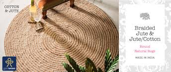 braided round jute cotton natural rugs