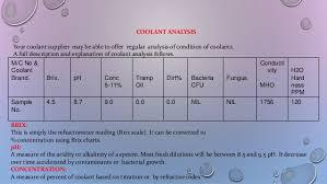 Machine Coolant Concentration Chart Machine Coolant Management Trouble Shooting