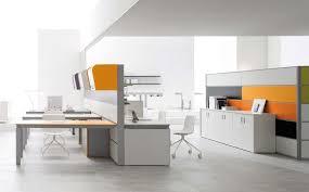 modern white office desks. Neatly Arranged Modern White Office Furniture With Orage Accents Desks