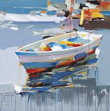 boat in oil painting print
