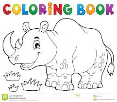 coloring book rhino theme image 1 stock vector ilration of rhino safari