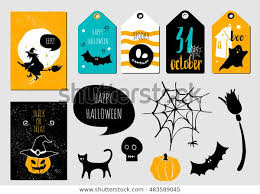 Halloween Gift Cards Halloween Set Gift Cards Tags Halloween Stock Vector
