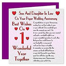 son & daughter in law 1st wedding anniversary card on your paper Wedding Card Verses For Son And Daughter In Law son & daughter in law 1st wedding anniversary card on your paper anniversary 1 year sentimental verse wedding card messages for son and daughter in law