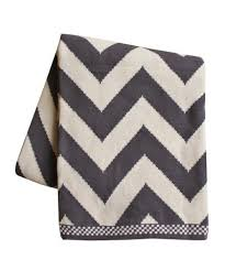 Grey And White Chevron Throw Blanket