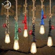 the lighting loft. Steampunk Pendant Lighting Loft Retro Industrial Vintage Water Pipe Colorful Lamp Hemp Rope Light For Home Theatre Tv Ideas The