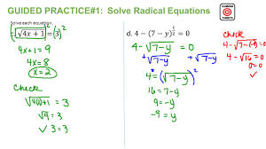 6 guided practice 1 solve radical equations solve each equation