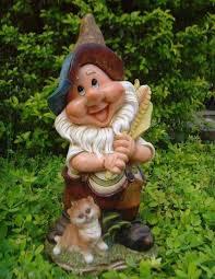 xl design gnome with cat 38 cm high