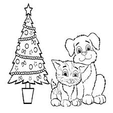 Small Picture Cat Dog Christmas Coloring Pages Coloring Coloring Pages