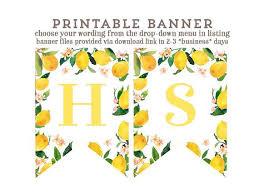 Lemon Birthday Banner Yellow Banner Printable Banner Happy Birthday Banner Bridal Shower Banner Retirement Banner Lemonade Party Decor