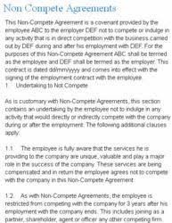 Non Compete Clause Example - April.onthemarch.co