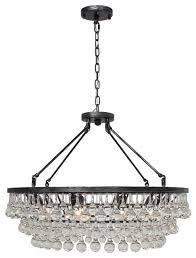celeste glass drop crystal chandelier antique silver 32 modern