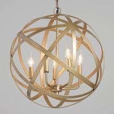antique brass orb cage 5 light chandelier