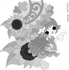 可愛い女の子とヒマワリのイラストのイラスト素材 26174337 Pixta