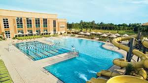 an outdoor pool and water slides