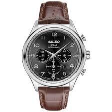 seiko seiko men s solar chronograph classic brown leather watch