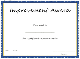 Improvement Award Certificate Template Sample Templates