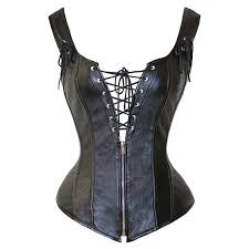 black lace up steampunk leather overbust corset zip up plus size gothic leather corset xl slimming