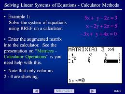 table of contents slide 3 solving linear systems of equations calculator methods example 1