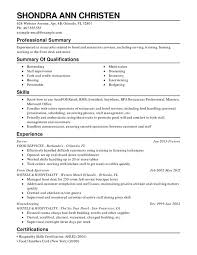 Restaurant Food Service Combination Resume Resume Help