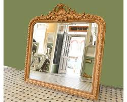 ornate shell top overmantle mirror