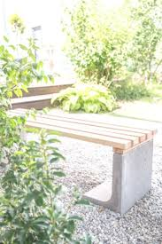diy garden bench with concrete and wood as low budget decoration for the garden